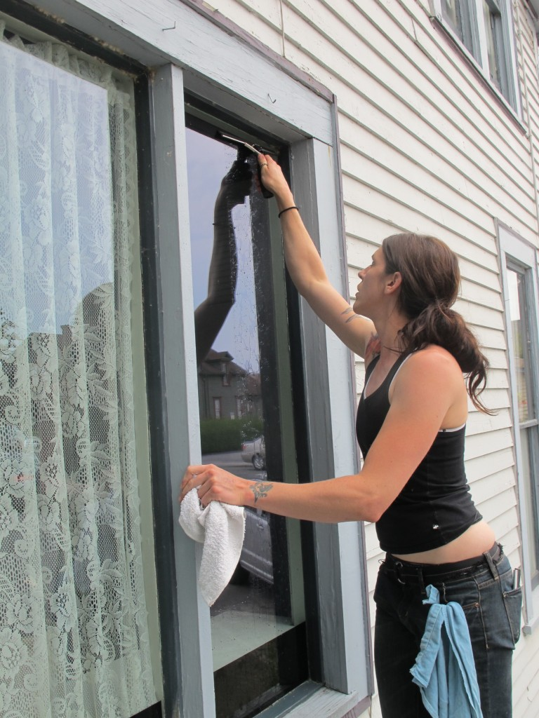 miranda teel, pilchuck glass school, la conner, washington, window cleaning